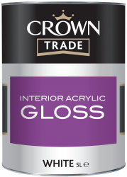 'Farba biała CROWN TRADE  INTERIOR ACRYL GLOSS WHITE 5L